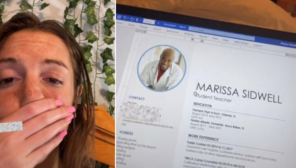 Una joven envió su CV con una foto que no era suya. (Foto: @marissasid21 / TikTok)
