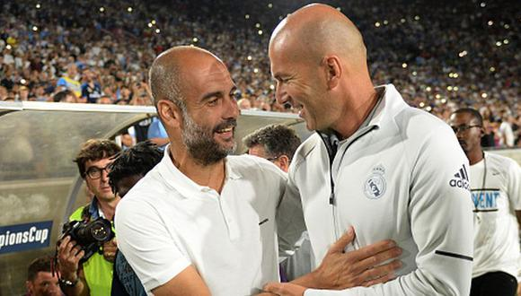 Guardiola y Zidane en un duelo amistoso de 2017 entre Manchester City y Real Madrid. (Getty)