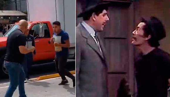 Dos hombres tomaron un carril cerca al Metro Patriotismo de México para agarrarse a golpes; sin embargo terminaron imitando a dos personajes famosos del Chavo del 8. (Foto: Captura Video @cuathemocuitla)