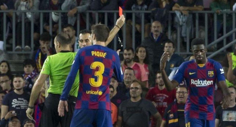 "Dembélé llamó ""muy malo"" a Lahoz y vio la tarjeta roja. (Movistar+)"