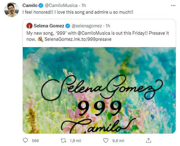 """Camilo y Selena Gomez alistan su primera colaboración que llevará por  título """"999"""" EEUU USA Estados Unidos Twitter celebs NNDC   OFF-SIDE   DEPOR"""