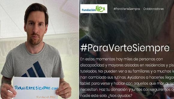 Lionel Messi es parte de una campaña de la fundación Alex por el COVID-19. (Captura: Diario Sport)