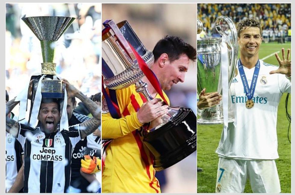 Los jugadores con más títulos en la historia del fútbol. (Getty)