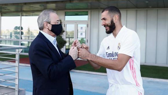 Florentino le dio espaldarazo a Benzema. (Foto: Real Madrid)