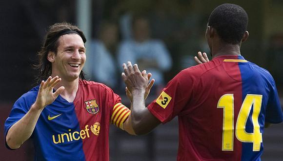 Lionel Messi y Samuel Eto'o jugaron juntos en Barcelona durante el 2005 y 2009. (Getty)