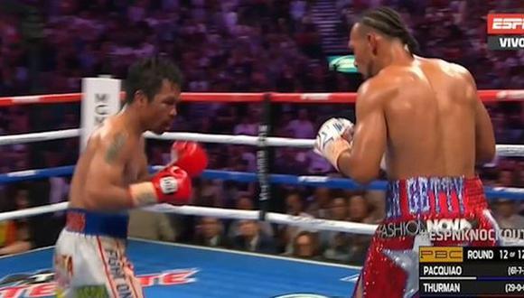 Así fue el último round de la pelea entre Manny Pacquiao y Keith Thurman. (ESPN)