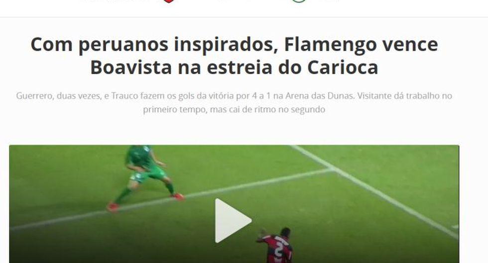 Prensa brasileña alabó la actuación de los peruanos en el Flamengo.