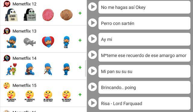 De esta manera podrás obtener un listado de stickers con audio para tu WhatsApp. (Foto: Memeflix)