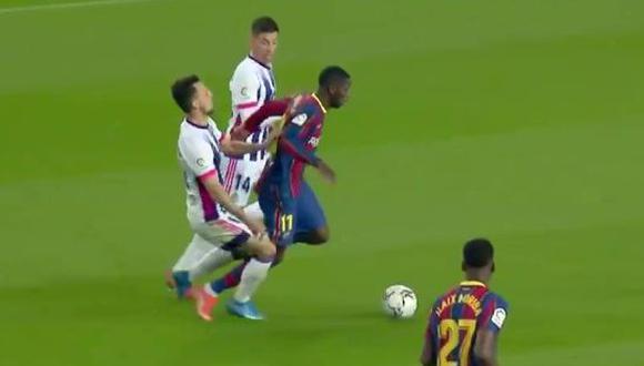 Óscar Plano fue expulsado a los 79 minutos tras una falta contra Ousmane Dembelé en el Barcelona vs. Valladolid por LaLiga. (Foto: DirecTV Sports)