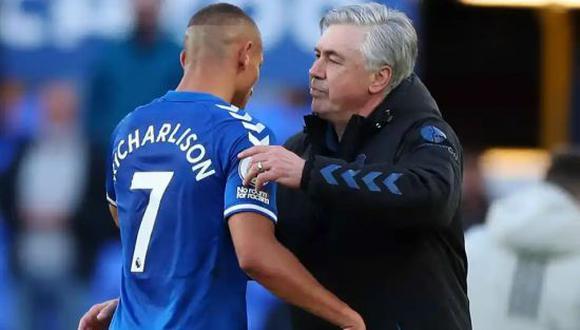 Carlo Ancelotti dirigió a Richarlison durante su paso por el Everton de la Premier League. (Foto: Getty Images)
