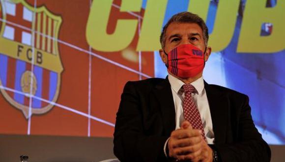 Joan Laporta, presidente del FC Barcelona, estaría evaluando la participación del cuadro culé en la Superliga Europea. (Foto: Twitter)