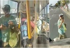 """""""No vean noticiero"""": se niega a usar mascarilla dentro de bus y su reacción es viral en redes sociales [VIDEO]"""