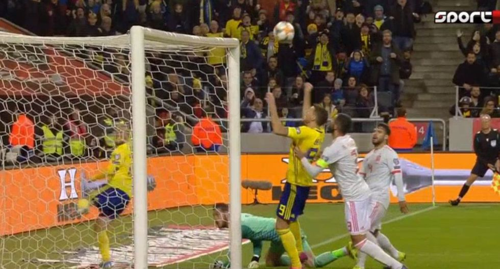 Berg anotó el 1-0 de Suecia contra España por Eliminatorias a la Eurocopa 2020. (Twitter)