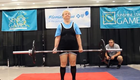 Edith Murway-Traina es la levantadora de pesas más longeva del mundo, según los Récord Guinness. (Foto: YouTube)