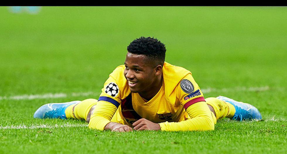 Ansu Fati se convirtió en el jugador más joven en marcar en la historia de Champions League. (Getty Images)