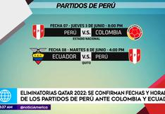 Selección peruana: Conoce el día y hora que jugará ante Colombia y Ecuador