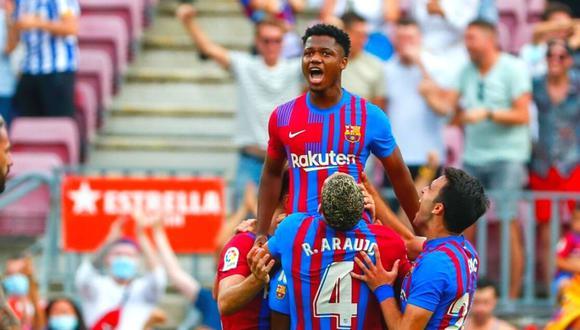 Ansu Fati y su regreso triunfal en Barcelona, con gol y con la '10' en la espalda. (Foto: AP)