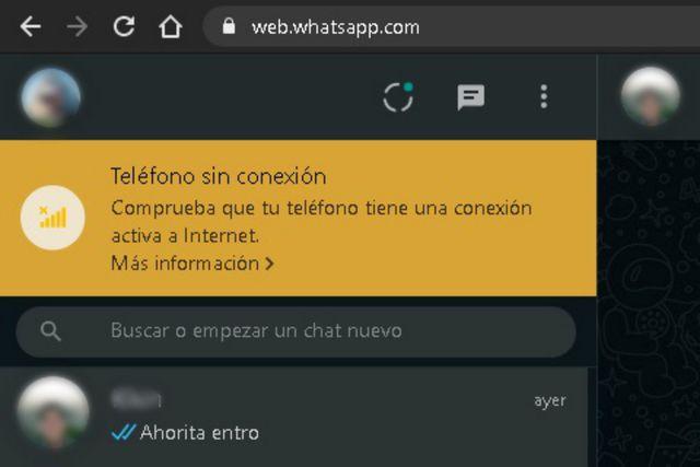 Teléfono sin conexión. (WhatsApp Web)