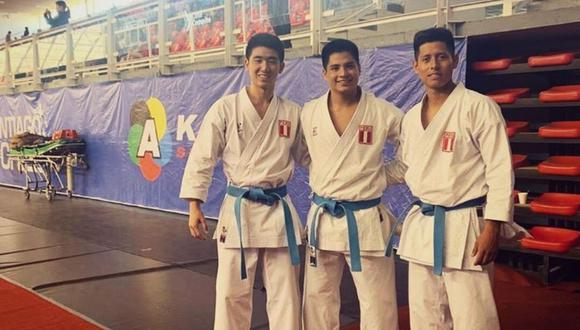 Gonzalo Miura, Mariano Wong y John Trebejo lograron el subcampeonato en el Karate 1 Series A - Santiago 2020. (Foto: IPD)