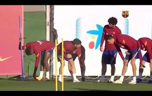Última sesión de trabajo de Barcelona antes de jugar frente al Getafe