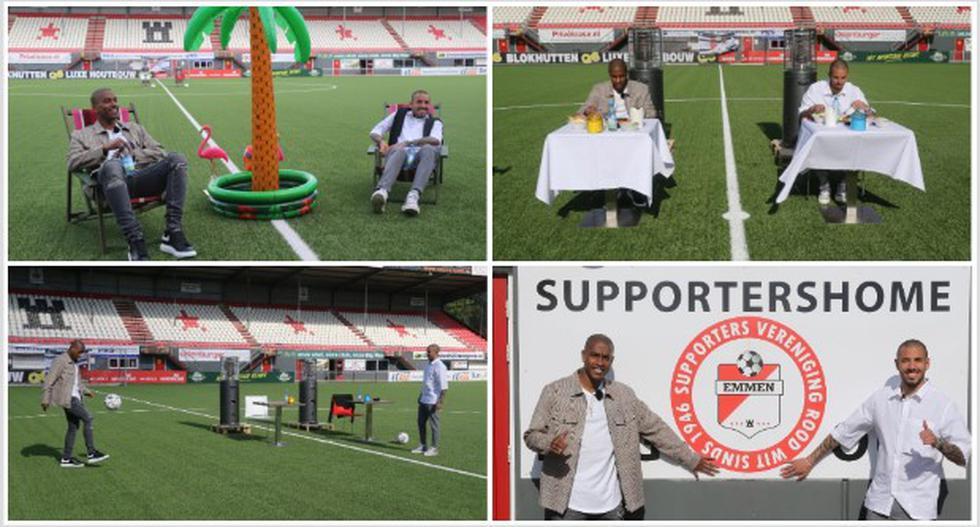 El homenaje que recibieron Sergio Peña y Miguel Araujo de parte de los hinchas de FC Emmen. (Foto: FC Emmen)