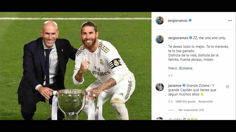 Sergio Ramos, capitán de Real Madrid, le dice adiós a Zidane. (Foto: Instagram)