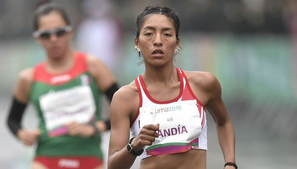 Mary Luz Andía corrió en marcha atlética de 20 kilómetros. (Foto: Andina)
