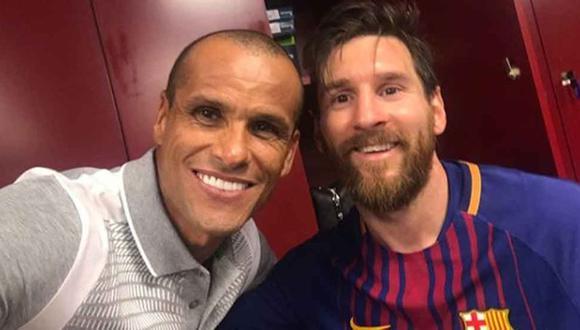 Rivaldo y Lionel Messi se encontraron después de un clásico ante el Real Madrid en 2018.