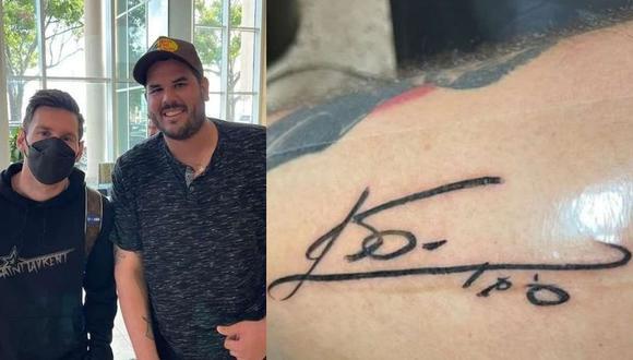 Lionel Messi le firmó la pierna a un fanático en el aeropuerto de Miami. (Foto: Instagram)