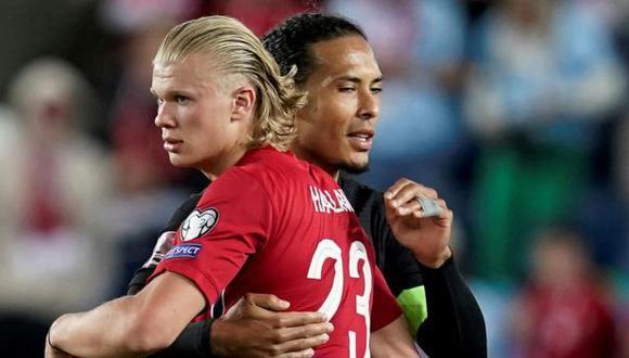 Erling Haaland marcó un 'triplete' en la última victoria de Noruega sobre Gibaltrar. (Foto: Reuters)