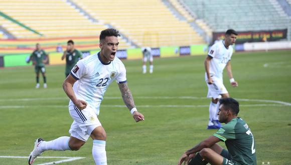 Lautaro Martínez anotó el primer gol para Argentina. (Foto: AFA).