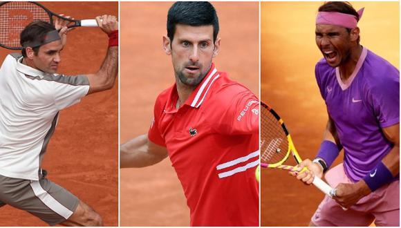 Federer, Djokovic y Nadal comparten el mismo lado del cuadro principal del Roland Garros 2021. (Difusión)