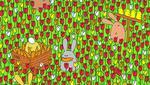 Encuentra el huevo de Pascua que está escondido entre el jardín y los conejos. (Dudolf)