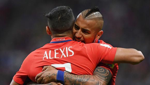 Alexis Sánchez y Arturo Vidal participaron con Chile en la Copa del Mundo 2014 y la Copa Confederaciones del 2017. Además lograron el bicampeonato histórico de la Copa América. (Foto: AFP)