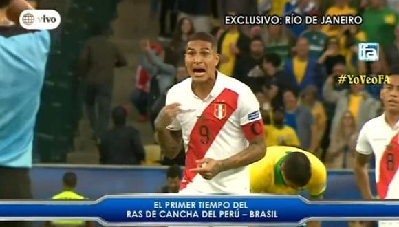 La frustración de Paolo Guerrero tras los goles de Brasil en la final de la Copa América. (Captura)