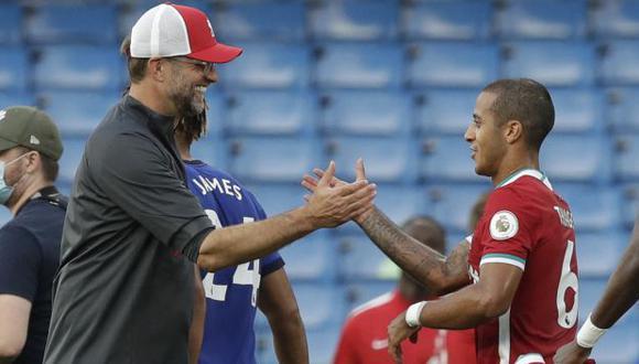 Thiago Alcántara tiene contrato con el Liverpool hasta mediados de 2024 (foto: AFP)