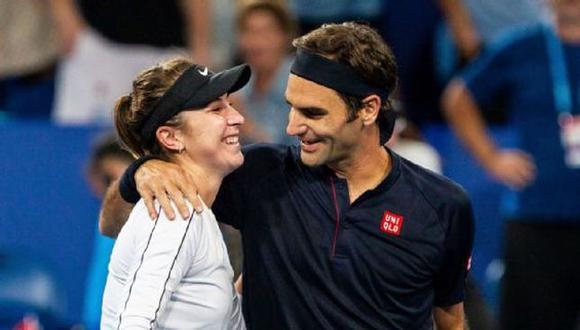 La reacción de Roger Federer por la medalla de oro de su compatriota Belinda Bencic. (EPA)
