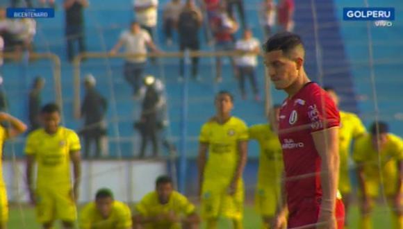 Olascuaga erró su penal en el Universitario vs. Coopsol. (Captura)