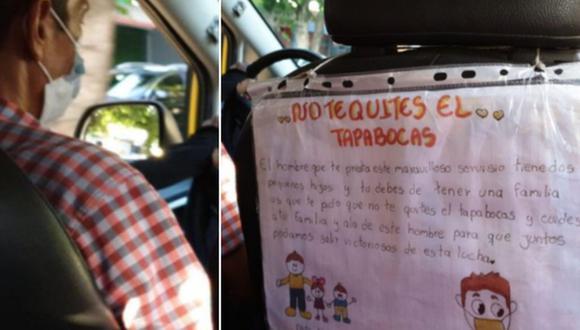 La carta de la niña que pide proteger a su padre taxista del COVID-19 dio la vuelta al mundo. (Foto: @luisalizcano98 / Twitter)