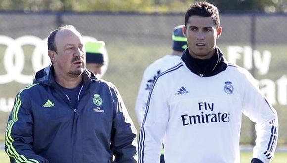 Cristiano Ronaldo y Rafa Benítez coincidieron en el Real Madrid en 2015. (Foto: AFP)