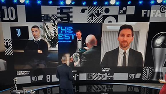 La reacción de Cristiano Ronaldo en medio de la ceremonia de The Best. (Foto: Captura de TV)