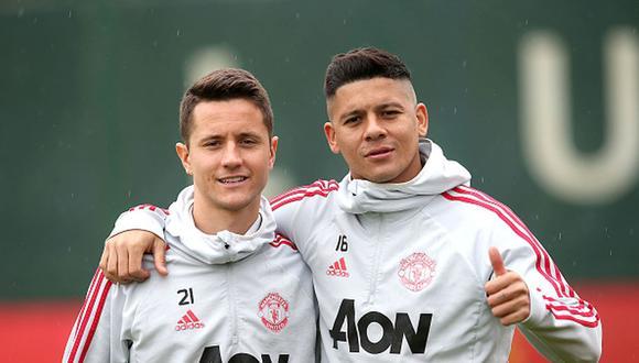 Ander Herrera y Marcos Rojo fueron compañeros en el Manchester United. (Getty)