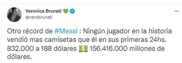 La venta de camisetas de Lionel Messi ha sido todo un éxito.
