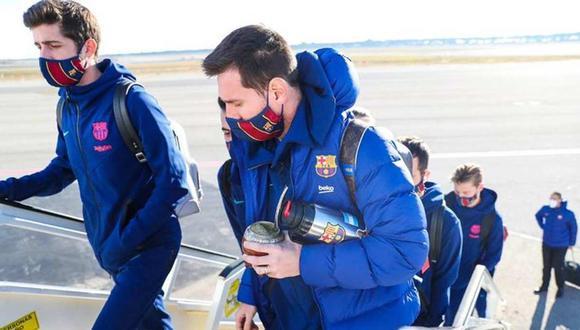 Lionel Messi viajó a Sevilla con todo el plantel de Barcelona. (Foto: @FCBarcelona_es)
