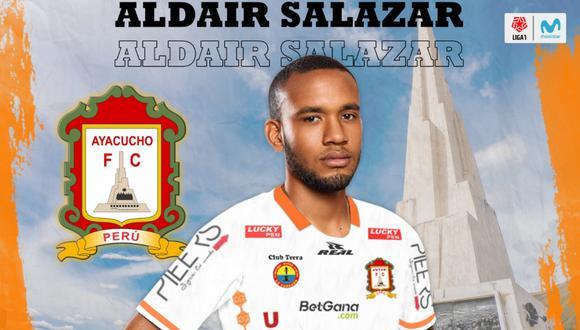 Aldair Salazar defenderá la camiseta de Ayacucho FC en la temporada 2021 (Foto: @fc_ayacucho)