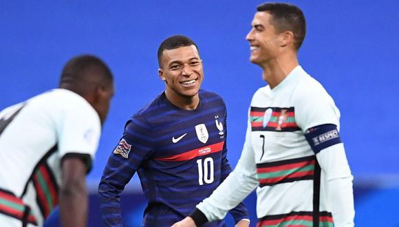 Kylian Mbappé y Cristiano Ronaldo, protagonistas de las Eliminatorias Qatar 2022 de la UEFA (Foto: AFP)