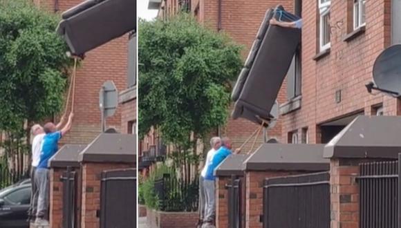 El singular truco que unos hombres aplicaron para sacar un sofá por el balcón de una casa. (Foto: @cillian_gc / TikTok)