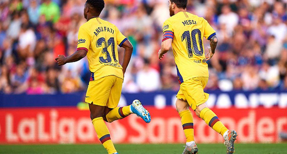 Ansu Fati debutó este año y Lionel Messi es el dueño de todos los récords en Barcelona. (Getty)