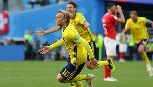 Por ahora, Forsbeg le da el pase a Suecia a cuartos de final del Mundial Rusia 2018. (Getty Images)