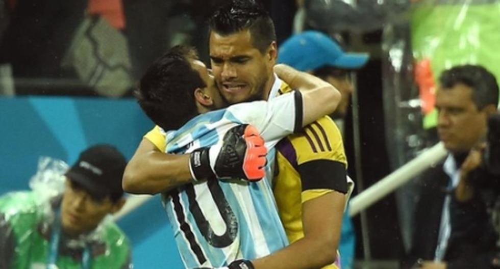 Lionel Messi y Sergio Romero en Brasil 2014. (Foto: Twitter)